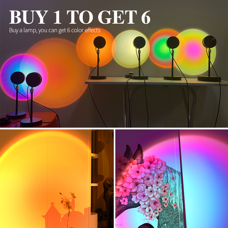 лампа закат солнца лампа закат Лампа с радужным закатом, проектор, ночник, проекционный закат, светодиодная настольная лампа для спальни, ат...