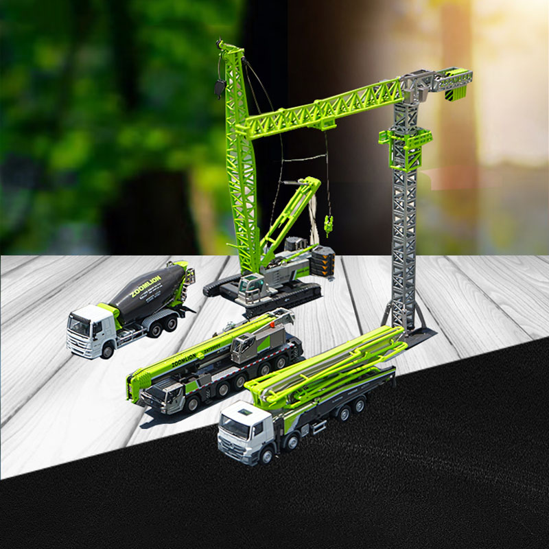 Engineering car gift box set crawler crane tower crane concrete pump truck mixer alloy model diecast metal vehicle toys kids