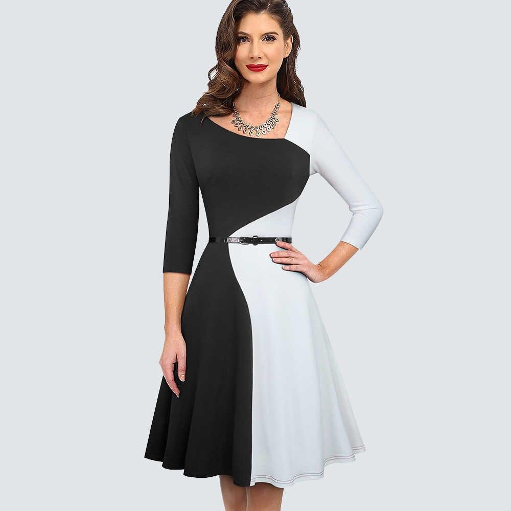 Femmes contraste couleur Vintage fête Flare robe asymétrie élégant Chic une ligne robe HA178