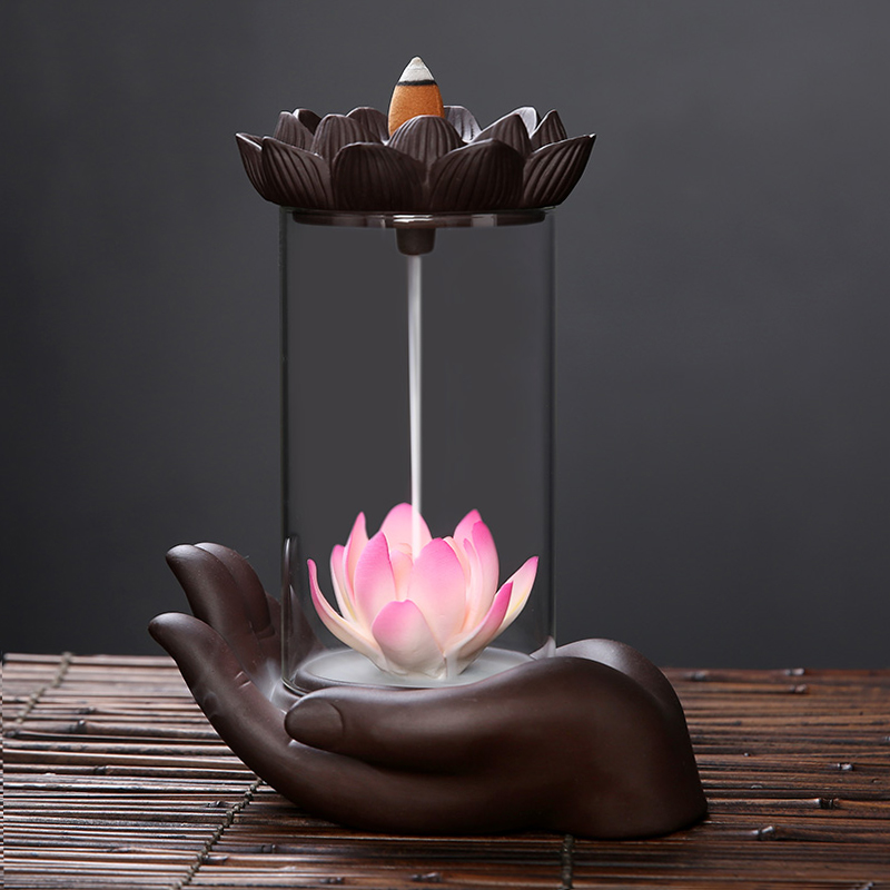 Creative Indoor Desktop Handmade Ceramic Ornament Windproof Backflow Incense Burner Buddhist Aromatherapy Stove