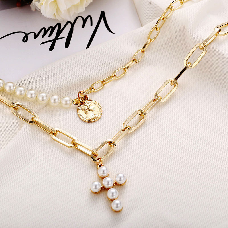 Modyle Luxury Design Pearls Choker Necklace Female Cross Pendant Necklaces for Women Gold Color 2019 Fashion Coin Jewelry