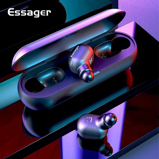 Essager T1 TWS Wireless Bluetooth 5.0 Earphone Headphones With Mic Sport Mini Cordless Headset True Wireless Earbuds For Phone