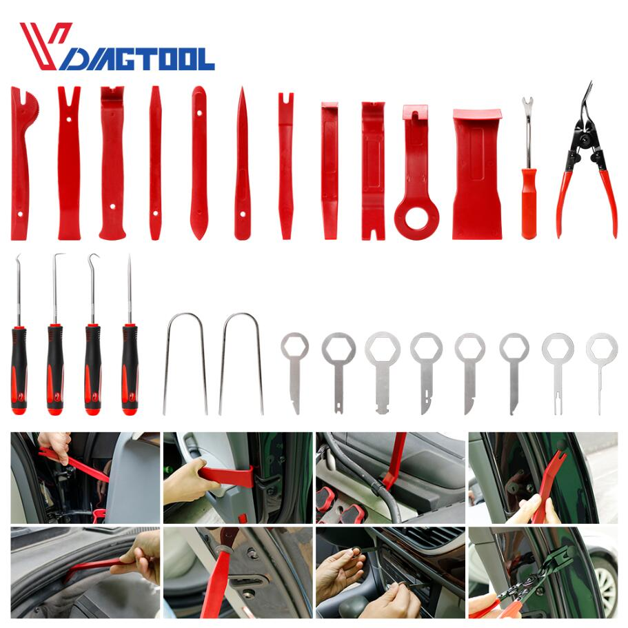 VDIAGTOOL 28PCS Car Radio Removal Tools For Vehicle Door Window Repair Kits Car Accessories Panel Dash Tool