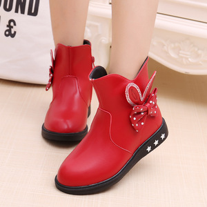 Image 2 - Childrens Shoes Girls Boots Autumn and Winter 2019 New Princess Boots Bow Plus Velvet Warm Cotton Kids Snow Boots Girls Shoes