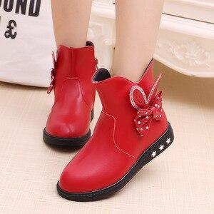 Image 2 - Zapatos para niños botas para niñas Otoño e Invierno 2019 nuevas botas de princesa arco más terciopelo cálido algodón niños botas de nieve zapatos para niñas