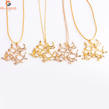 Golden Tree Necklace Beauty and Beast Heroine Gold Twig Pendant accessories gift jewelry woman charm цена