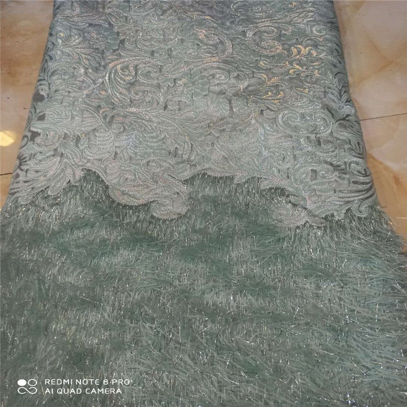 (5yards/lot ) 2019 New High quality emerald green Velvet African tulle lace French net lace fabric with Sequins for party dress
