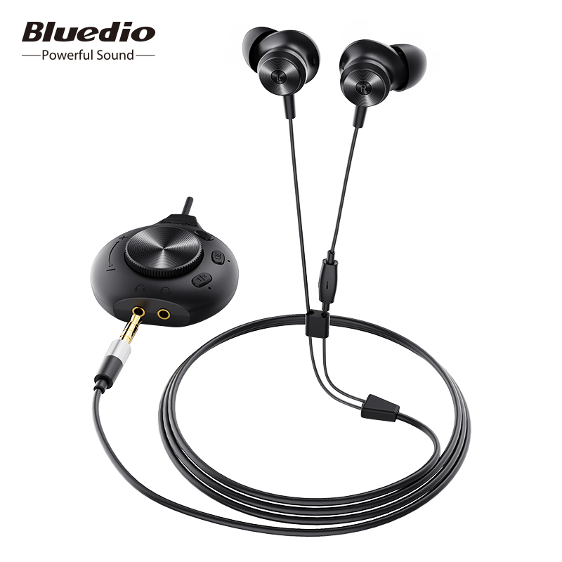 Bluedio Li Pro wired earphone 7 1 virtual sound card HIFI stereo headset built-in microphone magnetic headset for phone PC