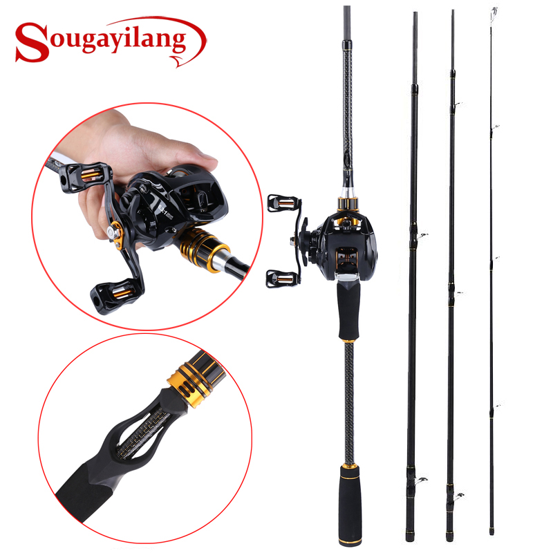 Sougayilang Casting Fishing Rod and Baitcasting Reel Combo Portable Travel Fishing Pole And 12 1BB Baitcasting