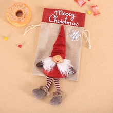 Christmas Drawstring Gift Bags Cookie Candy Packaging Tree Hanging Ornaments Party Decoration Favors