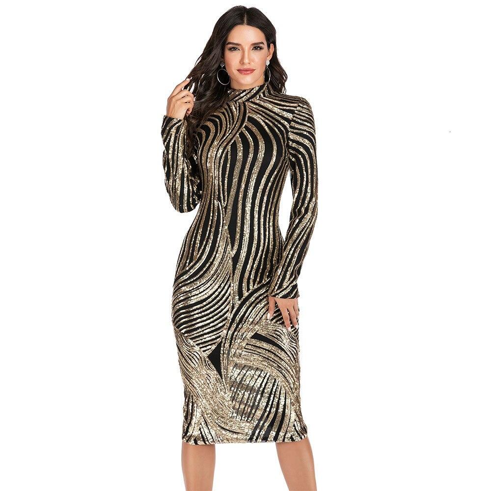 BacklakeGirls Elegant High Neck Full Sleeve Sequined Evening Dress Woman Tea-length Midi Dress Vestido De Fiesta Real Photos
