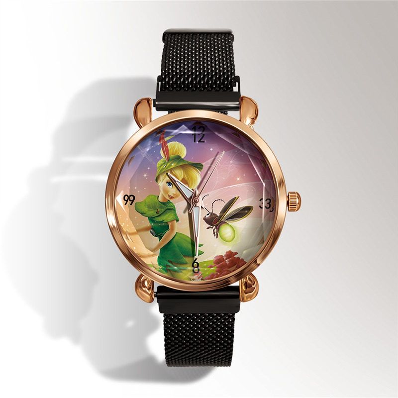 Tinker Bell Cute Fashion Rose Gold Lady Watch Luxury Brand Casual Stainless Steel Magnetic Women Watch Best Gift Reloj Mujer