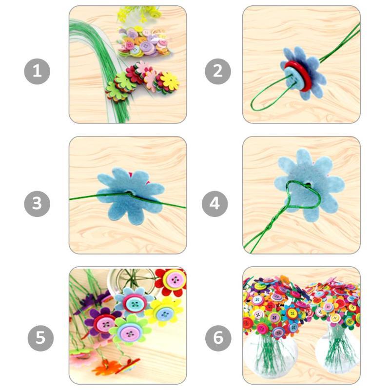 Creative Button Design Bouquet Kids DIY Handcraft Flower Toy Educational Buttons Threading Handmade Flowers Bough-pot Toy Gift