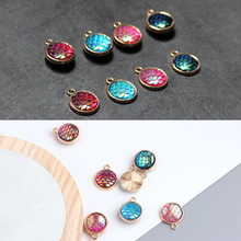 6pcs diy jewelry accessories alloy exquisite hanging plated fish man ji round fish scale pendant drop oil earring material