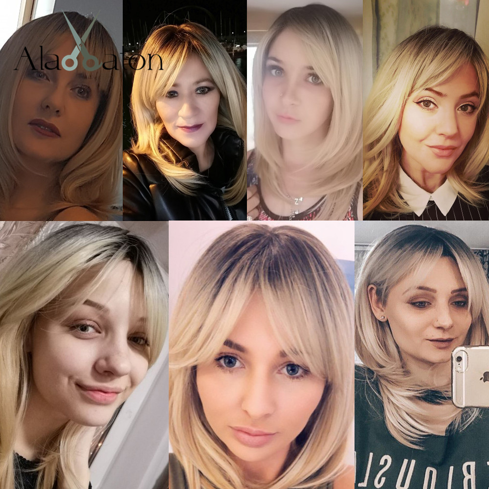 Image 3 - ALAN EATON Synthetic Wigs Long Straight Layered Hairstyle Ombre Black Brown Blonde Gray Ash Full Wigs with Bangs for Black WomenSynthetic None-Lace  Wigs   -
