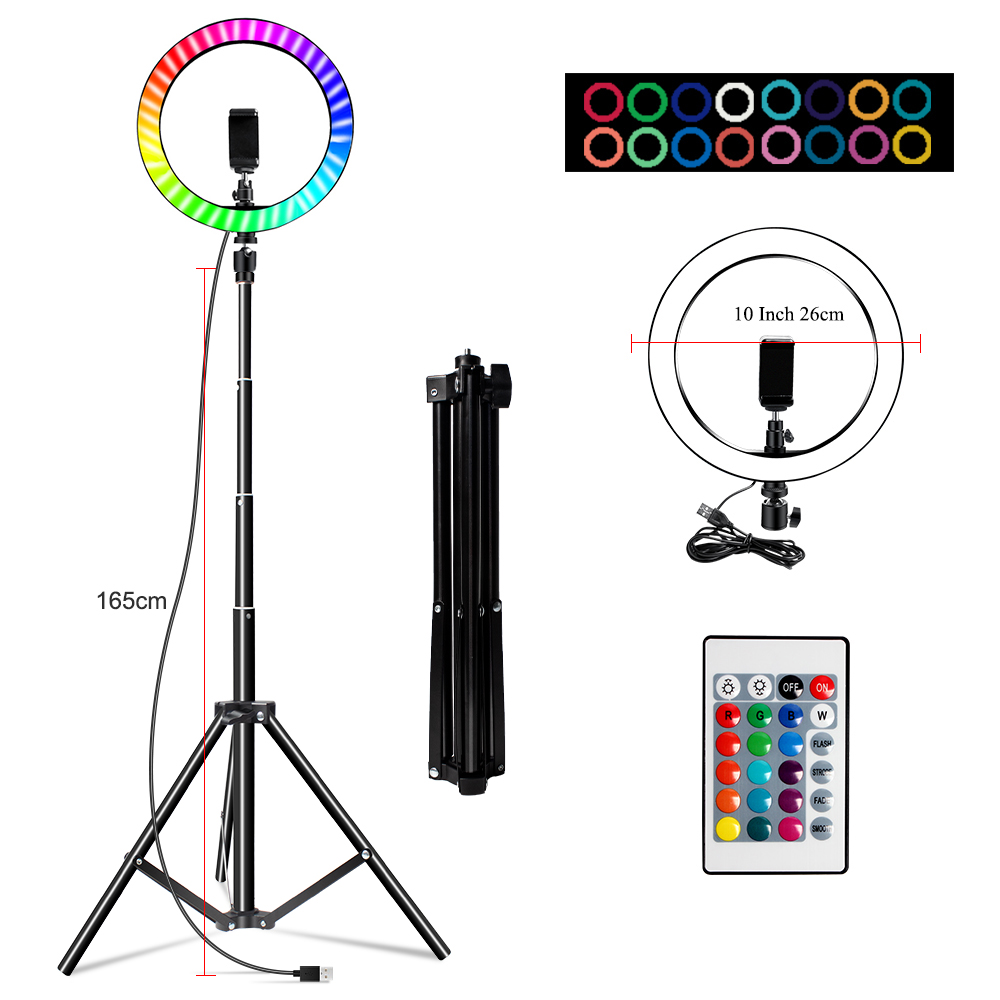 Hceb54ccc1e5047279eb012204d90ec3ar 10 Inch Rgb Video Light 16Colors Rgb Ring Lamp For Phone with Remote Camera Studio Large Light Led USB Ring 26cm for Youtuber