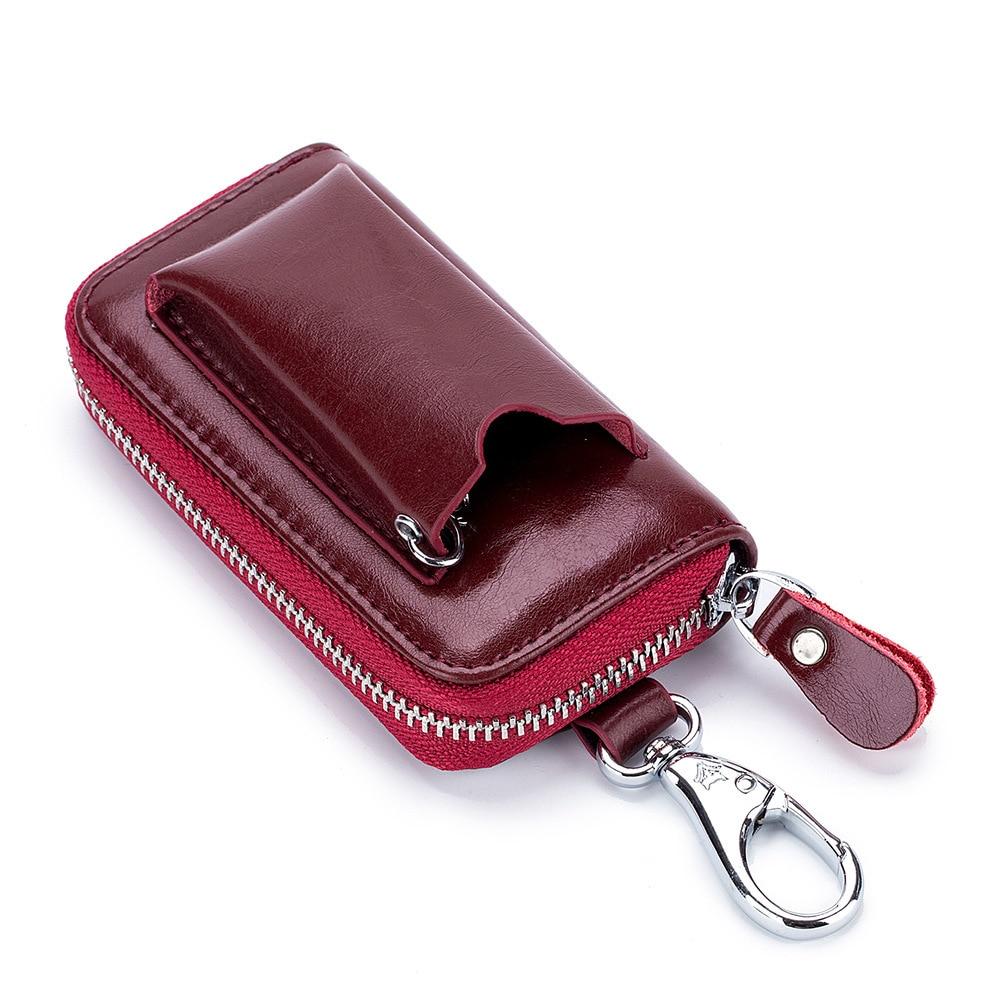 Fashion Genuine Leather Key Organizer Stitch Lilo Key Holder Key Wallet Women Card Keychain Cover Zipper Card Holder Wallet