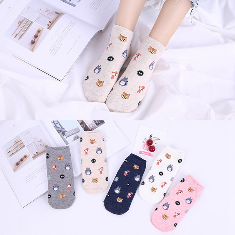 Cute Cartoon Totoro Socks Spirited Away Ghibli Miyazaki Anime Women Socks Harajuku Summer Totoro Stripes Funny Ankle Socks