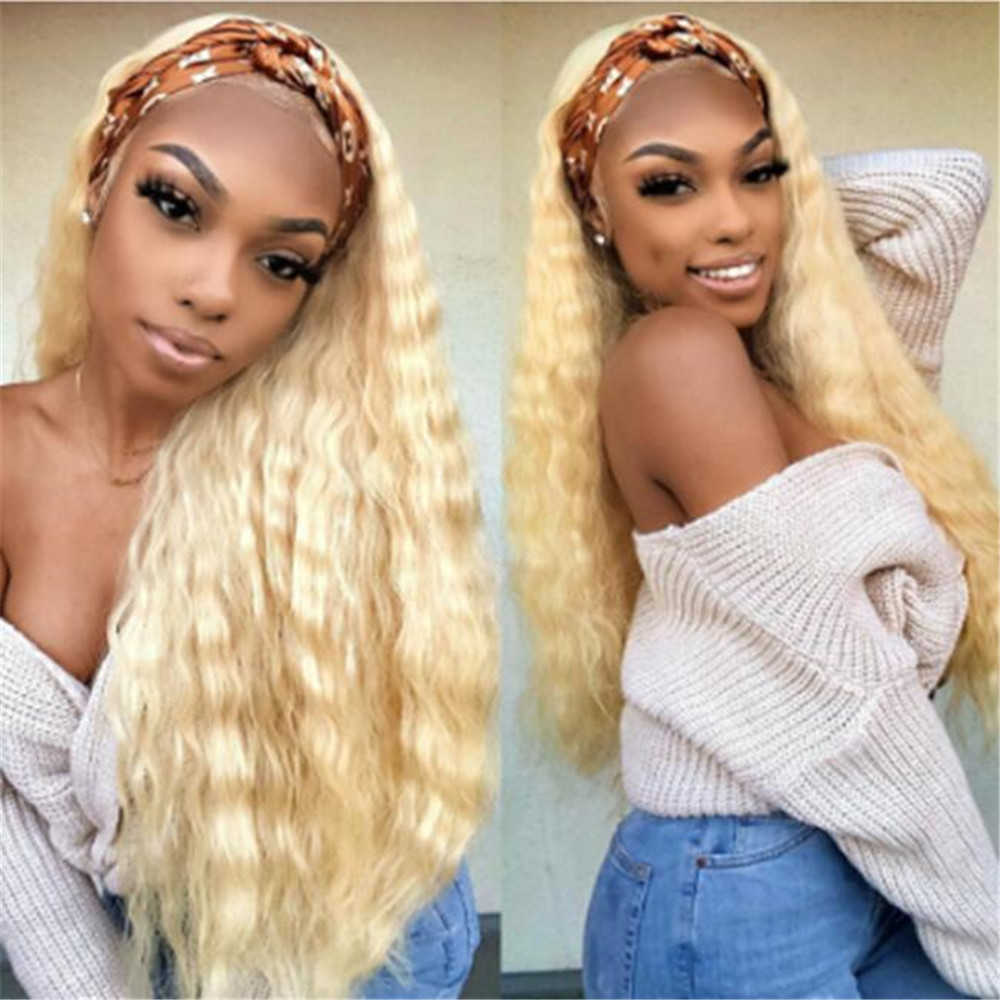 Blonde 613 Brazilian Remy Hair Water Wave Human Hair Full Lace Wigs Bleached Konts Glueless Wigs With Baby Hair For Women