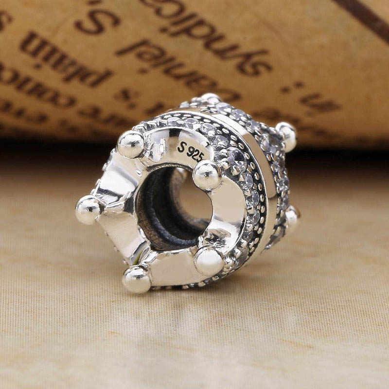 Nowy 925 srebrny koralik urok Logo podpis piękna królewska korona z kryształowymi koralikami Fit kobiety bransoletka pandora Diy biżuteria