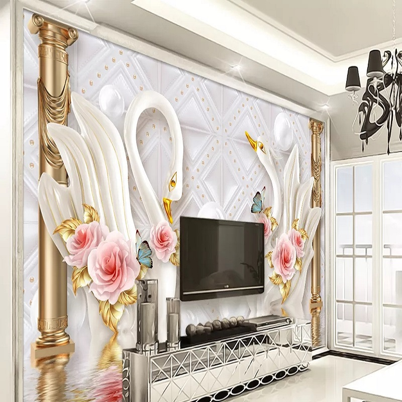 Custom Large Mural 3D Wallpaper Modern Fashion Creative Luxury Pearl Jewelry Golden Chinese Swan Wall Decor 5D Embossed