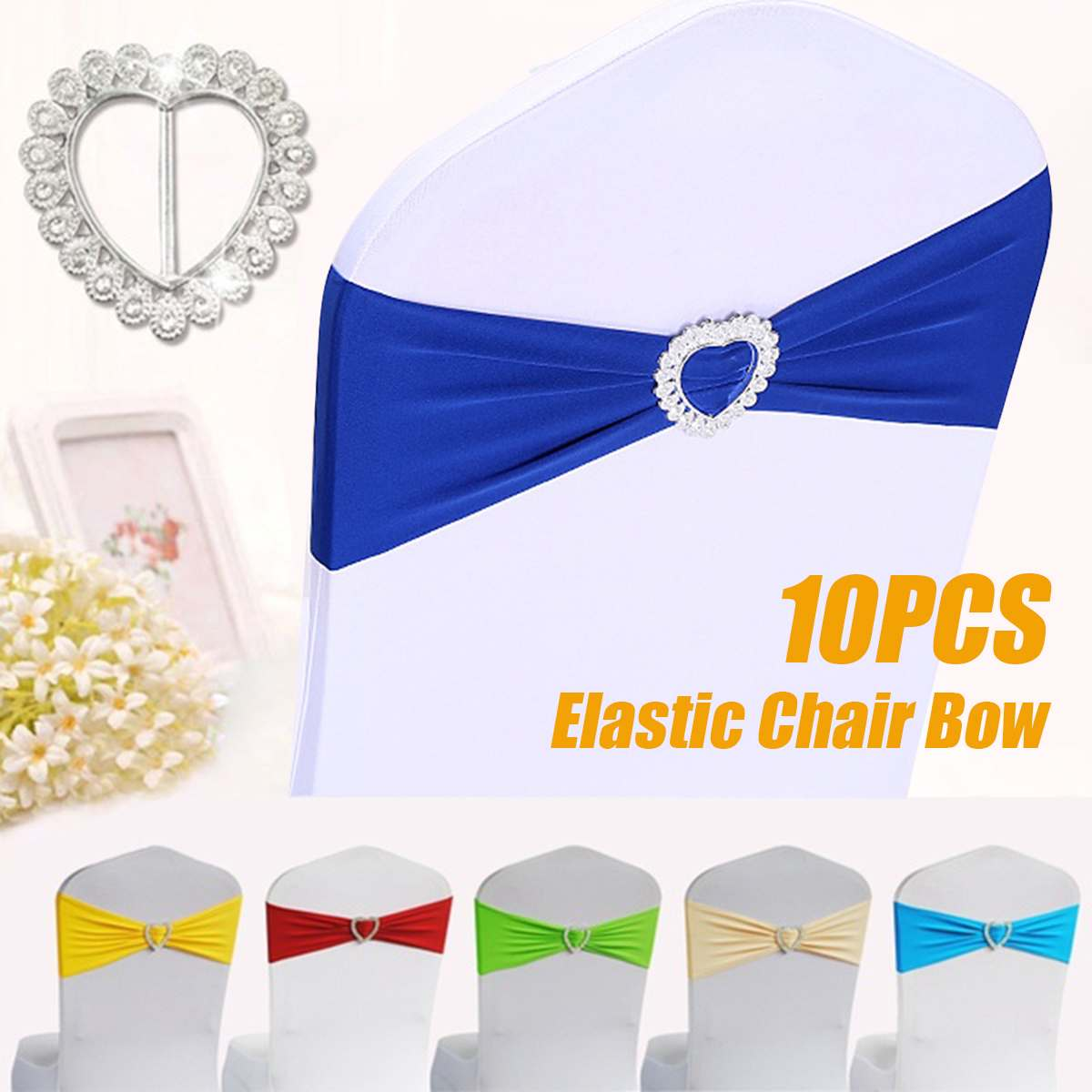 10pcs Silver Heart Buckle Stretch Spandex Chair Sash Band Wedding Chair Bow Tie Polyester For Wedding Hotel Banquet Decor
