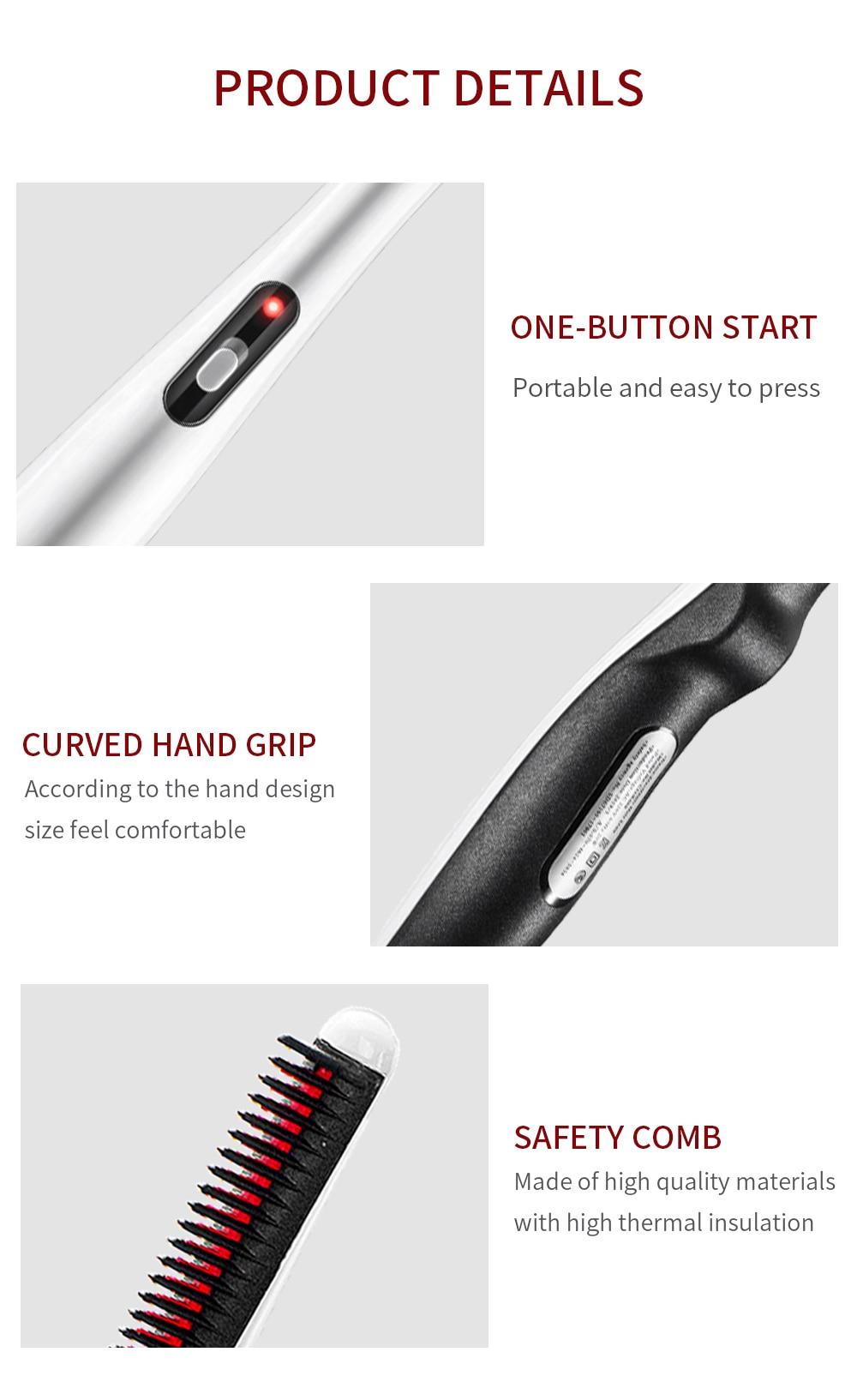 Quick Beard Straightener Hair Comb Multifunctional Hair  For Man Curler Show Cap Tool Electric Heating Hair Brush 14