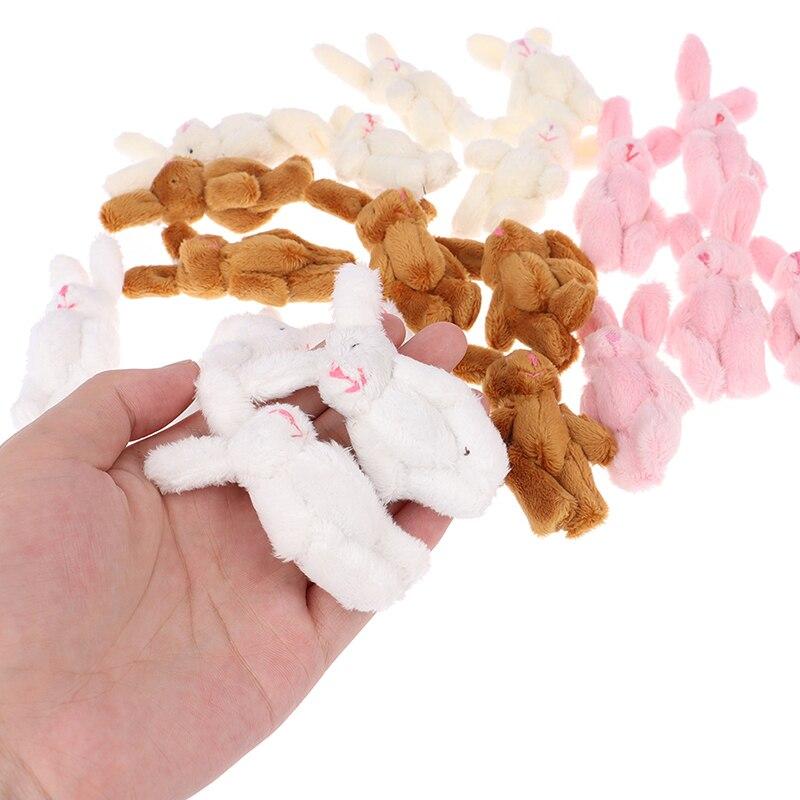 10pcs 6cm 4colors Soft Mini Joint Rabbit Pendant Plush Bunny For Key Chain Bouquet Toy Doll DIY Ornaments Gifts