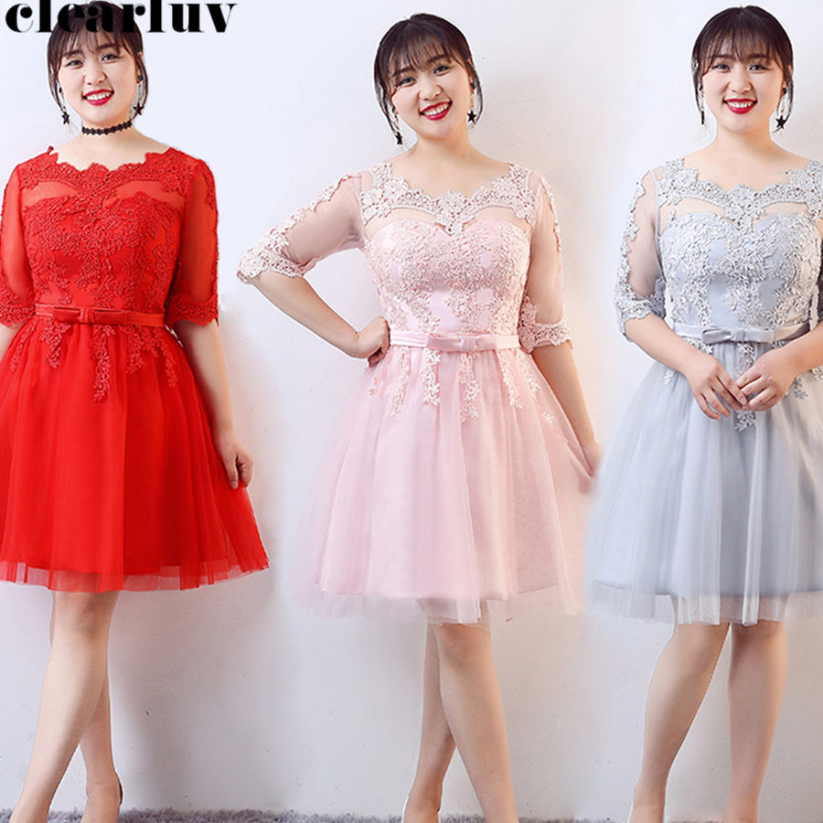 Prom Dress O-Neck Appliques Plus Size Dresses Women Party Night Half Sleeve Vestidos De Gala Knee Length Formal Dress 2019 T165