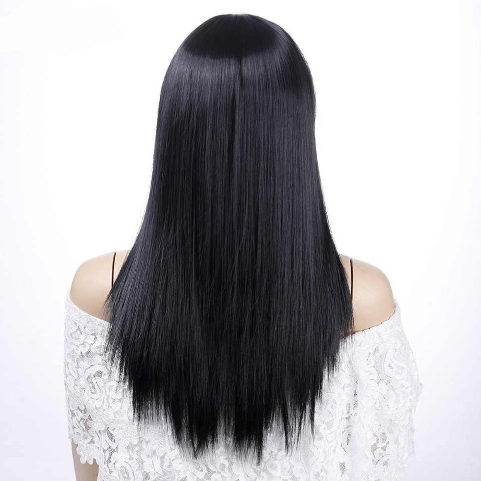 MSTN kadınlar uzun düz Peruk Patlama ile kahverengi altın ısıya dayanıklı iplik Saç Sentetik Peruk Günlük kullanım için Saç Peruk