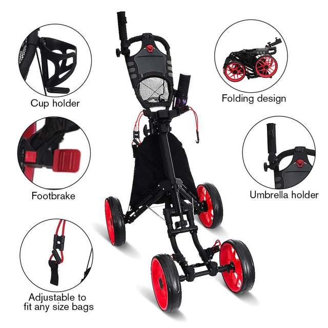 Folding Aluminum Alloy Golf Trolley 4 Wheels Golf Bag Pull Push Cart Umbrella Cup Holder Adjustable Trolley with Footbrake 4