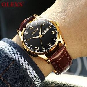 Image 2 - OLEVS Watch Men Brown Leather Quartz Auto Date Calendar Original Brand Waterproof Business Wristwatch Fashion Male