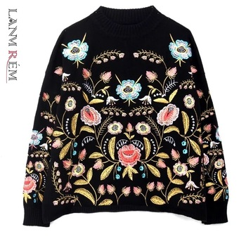 LANMREM 2021 Round Collar Flowers Embroidery Top Loose Korean autumn autumn Long Sleeve Woman's New Fashion Sweater FA50001