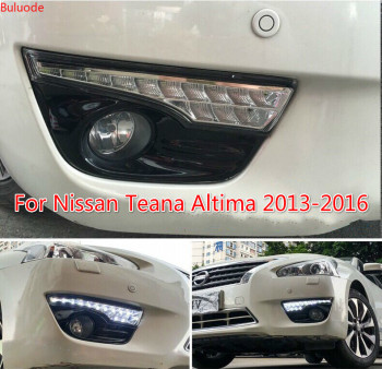 цена на 1 Pair DRL For Nissan Teana Altima 2013 2014 2015 2016 Daytime Running Lights fog lamp cover headlight 12V Daylight