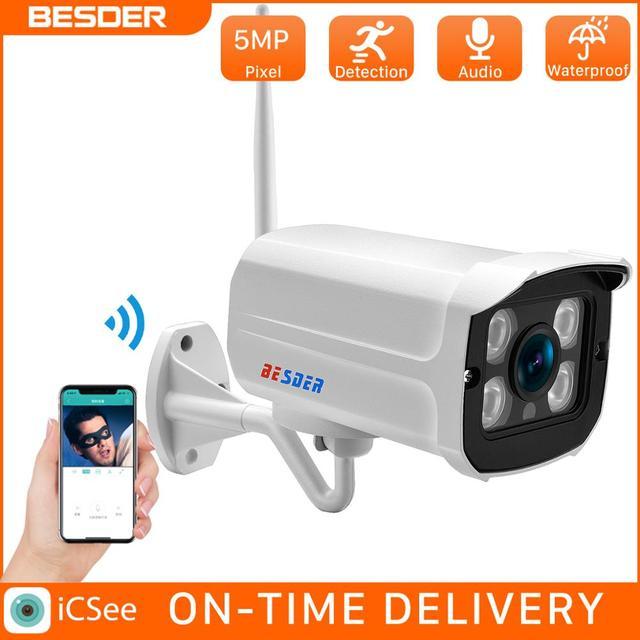 Besder 5MP 720P Audio Onvif Draadloze Alarm Push P2P Wifi Camera Kogel Outdoor Ip Camera Met Sd Card Slot max 128Gb Icsee App