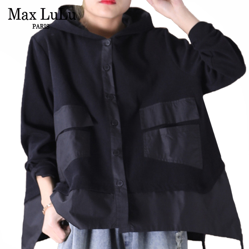 Max LuLu 2020 Spring Fashion Ladies Loose Hooded Hoodies Womens Casual Patchwork Sweatshirts Punk Style Female Clothes Plus Size