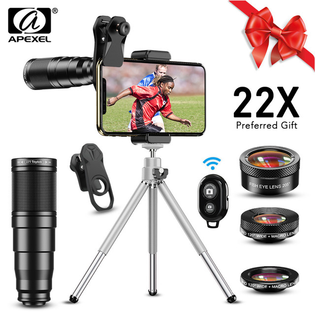 $ US $22.10 APEXEL New Phone Camera Lens kit 4in1 Telephoto Zoom 22X Lens Telescope Monocular Wide Macro Fisheye Lens Tripod with remote