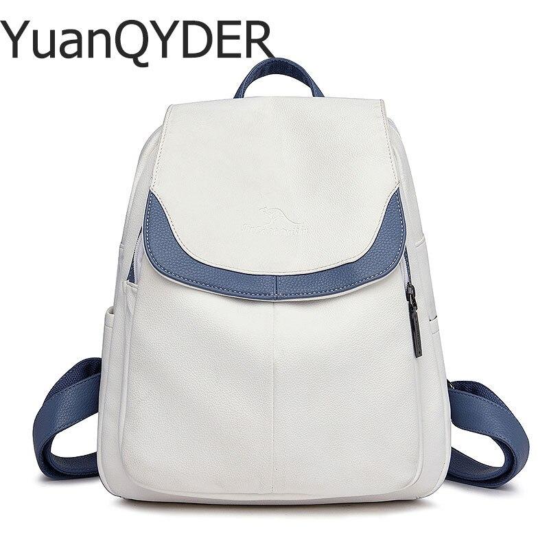 3-in-1 Women Soft Leather Backpacks Ladies Bagpack Simple School Shoulder Bags For Teenage Girls Travel BackPack Ladies Mochila