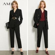 AMII minimalismo, conjunto de traje de verano y otoño con solapa y doble botonadura, chaleco sólido, Pantalones rectos de cintura alta para mujer, 12040939