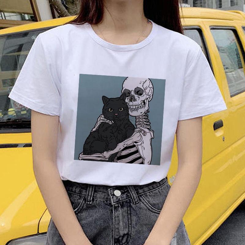 Showtly Horro Skull And Cute Cat Femal Tshirt Cartoon Top Tees Kawaii T Shirt Women Harajuku Short Sleeve Fun Ulzzang T-Shirt