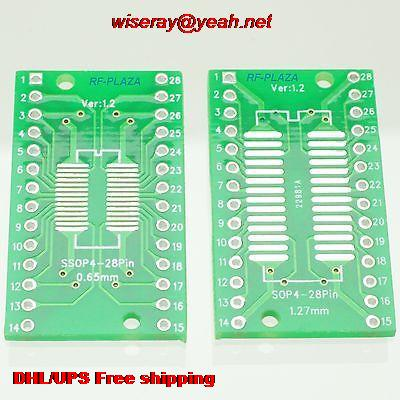 DHL/EMS 300pcs SOP28 0.65mm SSOP28 1.27mm 4~28P To DIP28 2.54mm IC PCB Adapter Converter-PCB Con Tor-A6