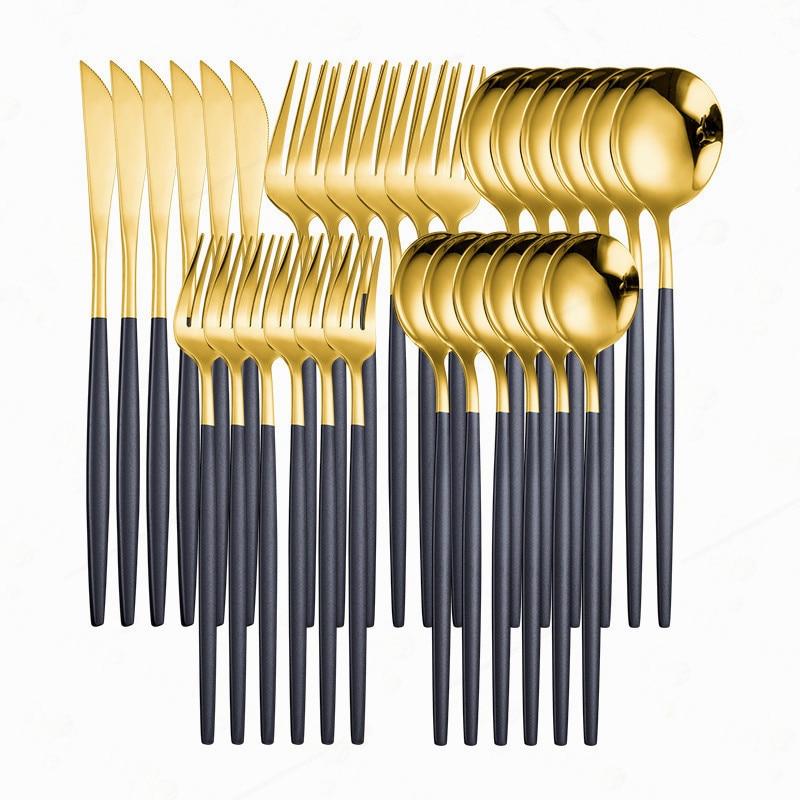 Conjunto de talheres de ouro preto aço inoxidável conjunto de talheres ocidentais 30 peças colher garfo faca louça conjunto casa talheres jantar conjunto
