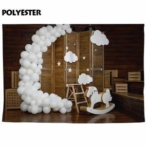 Image 3 - Allenjoy wood louver gate photophone balloons birthday baby shower smash cake photo studio background photography backdrop