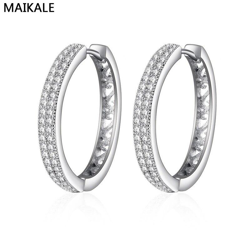 MAIKALE Simple Korean Earrings AAA Cubic Zirconia Big Hoop Earrings For Woman Temperament Earrings Gold Silver Fashion Jewelry
