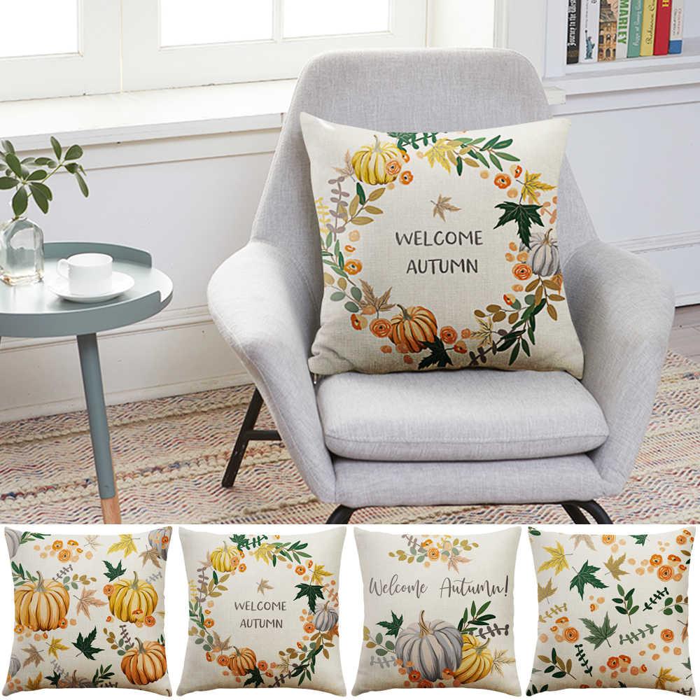 1pc Fronha 45x45 centímetros Cadeira Fronha Capa de Almofada Para O Sofá de Casa Decorativo Queda Feliz Dia de ação de Graças decoração Para Casa de presente