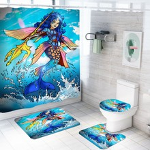 цена на 4 Pieces Sea Mermaid Bath Set Anti-Slip Bathroom Rug Floor Mat Waterproof Shower Curtain Cartoon Animal Printed Blue Bath Decor