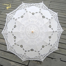 New Sun Umbrella Cotton Embroidery Bridal Umbrella White Ivory Battenburg Lace Parasol Umbrella Decorative umbrella for wedding