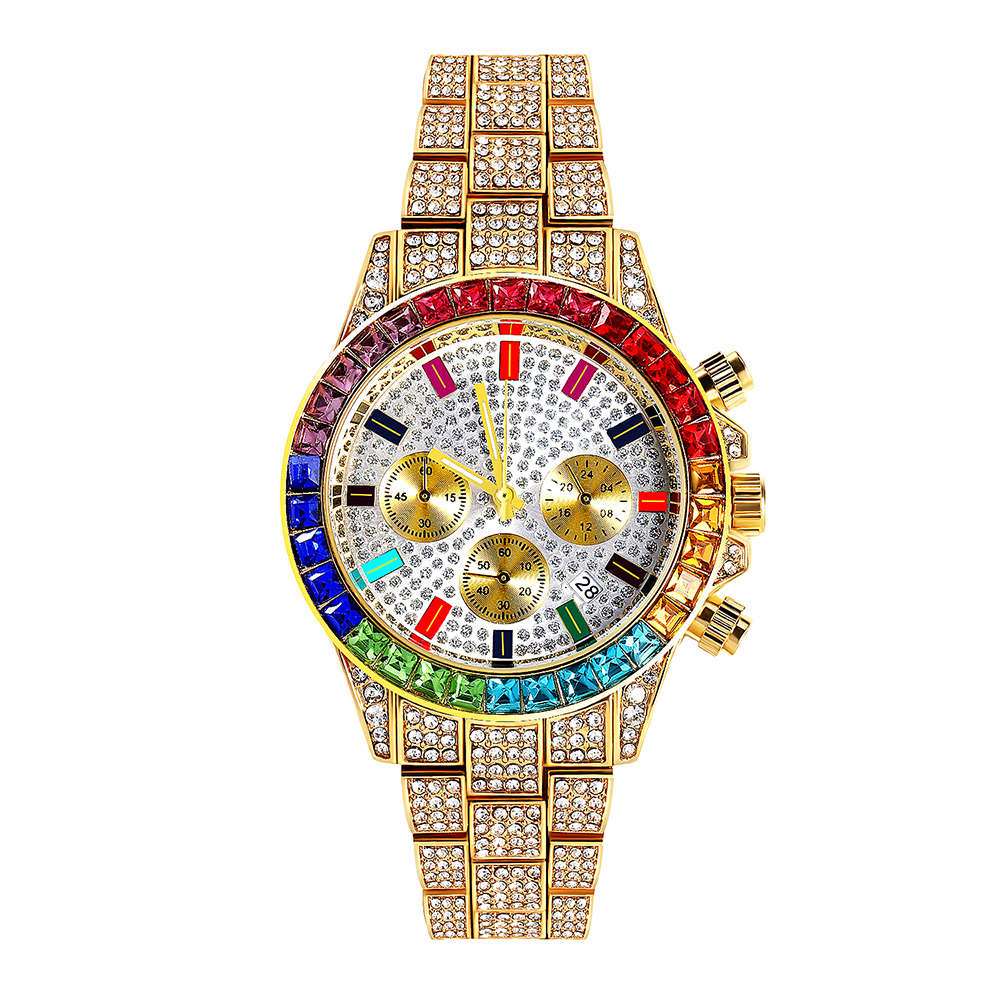 YAZI Quartz Watches New Design Wrist Watch Three Eye Diamond Watch With Calendar Gift For Men #30