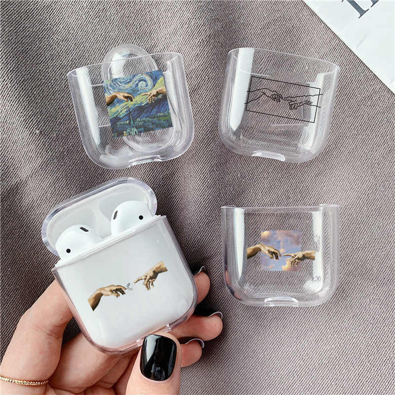 Abstract art pattern Hard case For Airpods Pro Case Luxury transparent Bluetooth earphone protective Case For Air pods 3/2 cases
