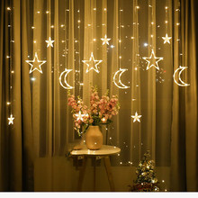 Moon Star LED Curtain Lights Festoon icicle Fairy Garlands String Lights for Wedding Christmas Window Islam Muslim Party Decor